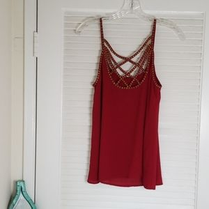 Brick Red Blouse with Beaded Straps - Forever 21
